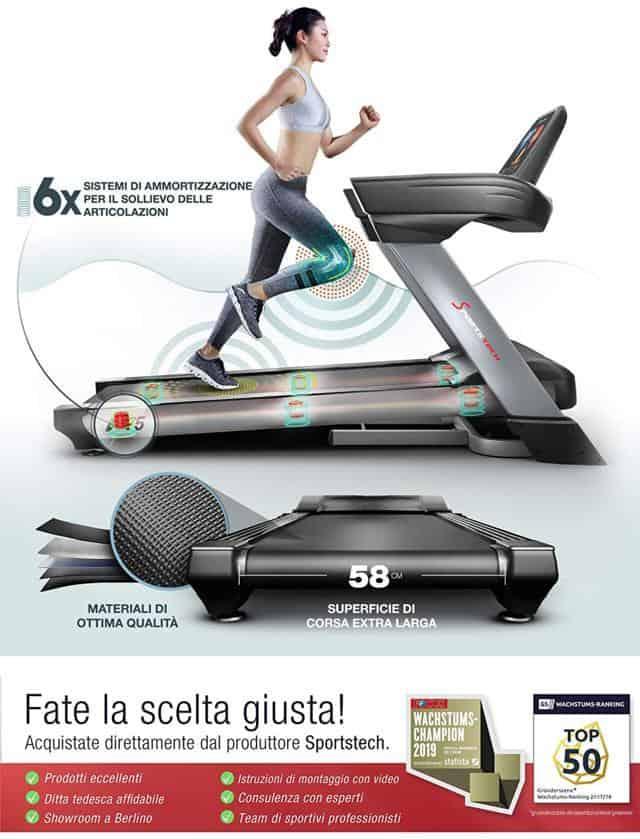 Sportstech F75 ammortizzazione e superficie di corsa